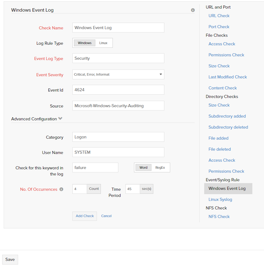 Server Resource Check Profile | Online Help Site24x7