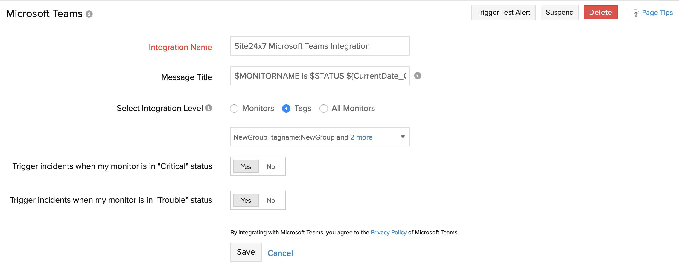 Microsoft Teams | Online Help Site24x7