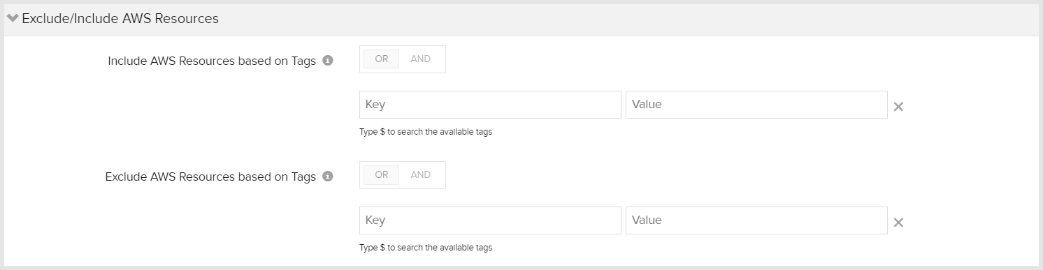 Tag based exclude/include filtering options