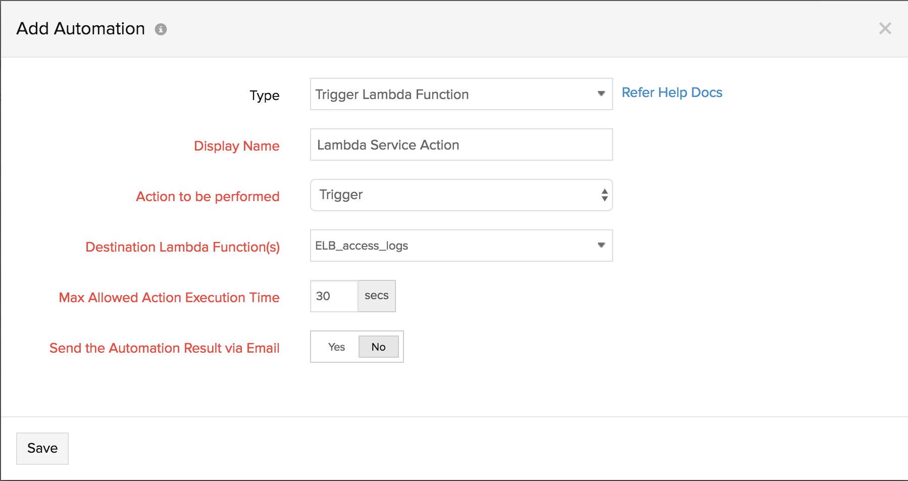 Creating an action profile to Lambda actions