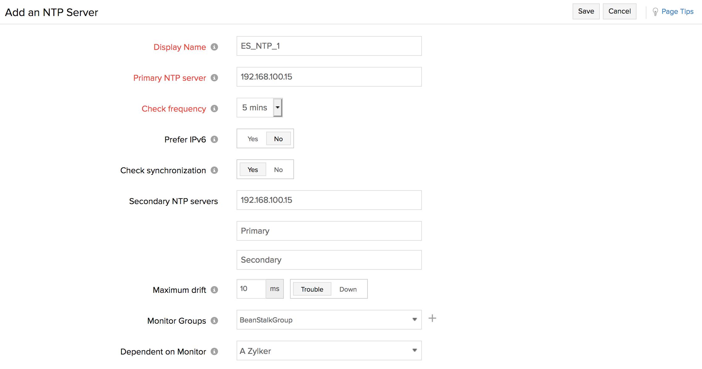 NTP Server   Online Help Site24x7