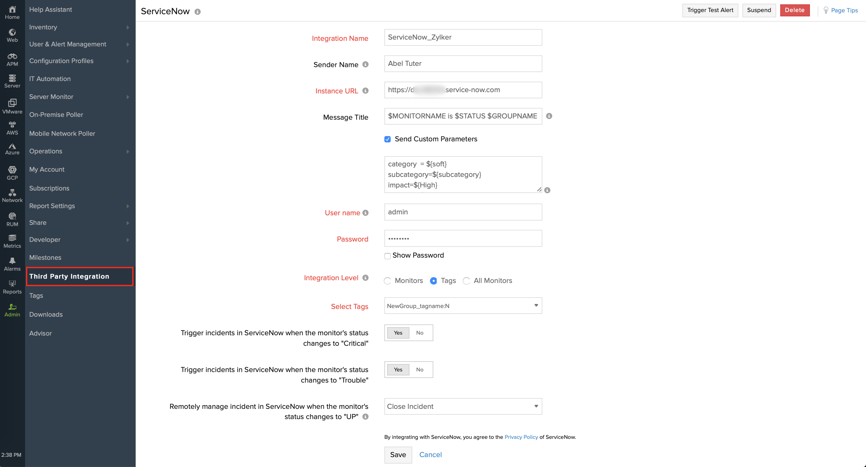 ServiceNow Integration | Online Help Site24x7